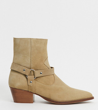 Depp wide fit leather boots with harness detail in beige suede