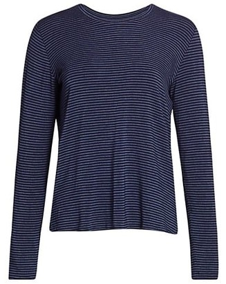 Majestic Filatures Soft Touch Striped Crewneck Top