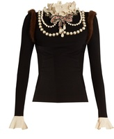 Gucci Necklace-embellished wool-blend knit sweater