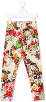 MonnaLisa dwarf and floral print leggings - kids - Cotton/Spandex/Elastane - 2 yrs