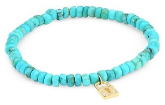 Sydney Evan Diamond, Turquoise and 14K Gold Small Lock Charm Beaded Bracelet