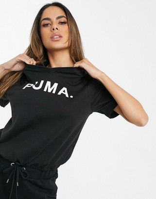 Puma Chase V Neck T-Shirt In Black