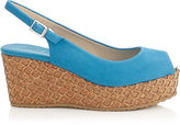 Jimmy Choo PRAISE Robot Blue Suede with Lasered Cork Covered Wedges