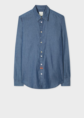 Paul Smith Men's Slim-Fit Chambray Shirt With 'Artist Stripe' Embroidery