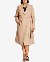 City Chic Trendy Plus Size Belted Wrap Coat