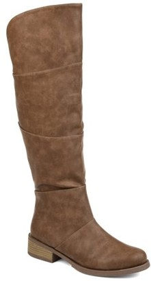 Brinley Co. Womens Comfort Wide Calf Faux Leather Knee-high Boot
