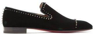 Christian Louboutin Dandeton Studded Velvet Loafers - Green
