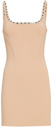 David Koma Crystal Strap Crepe Mini Dress