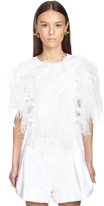 Valentino Cotton Jersey T-shirt W/ostrich Feathers