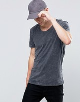 Selected Overdyed T-Shirt with Acid Wash in Black