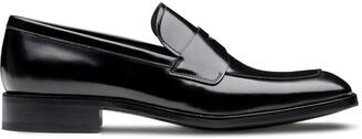 Prada Square-Toe Brushed Loafers
