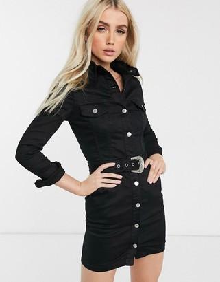 Parisian denim shirt dress with western buckle belt