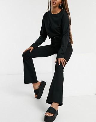 Dr. Denim Moxy flare high-waist jeans in black