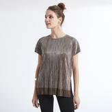 Apricot Khaki Metallic Plisse T-shirt