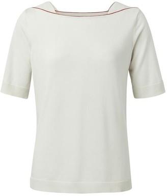 Ya-Ya White Sand Boat Neck Knitted T Shirt - Large