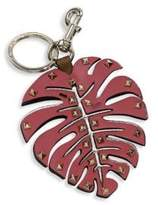 Valentino Tropical Leaf Leather Keychain