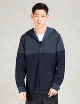 Still Good Navy Wool Nylon Hooded Shirt Jacket