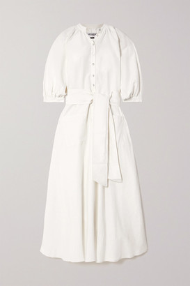 ÀCHEVAL PAMPA Argentina Belted Linen And Silk-blend Midi Dress - White