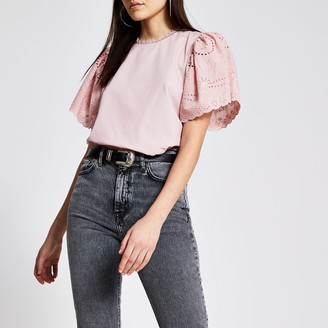 River Island Womens Pink broderie short sleeve studded top