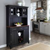 Home Styles Three-Drawer 44 in. W Black Buffet with Cherry Wood Top and Hutch