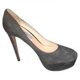 Prada Grey Suede Heels