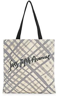 Saks Fifth Avenue Women's Canvas Grid Pattern Logo Tote Bag