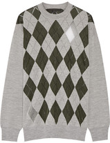 Alexander Wang Mesh-paneled Argyle Merino Wool-blend Sweater - Emerald