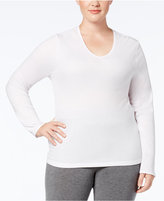 Cuddl Duds Plus Size Softwear Lace-Trim Long-Sleeve Top