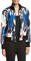 DKNY Abstract Ponte Bomber Jacket, Black/Multicolor