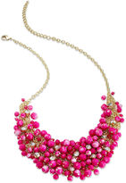 Charter Club Necklace, Gold-Tone Pink Bead Cluster Bib Necklace