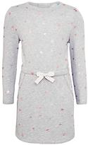 John Lewis Girls' Star Print Sweater Dress, Grey