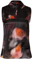 Jil Sander Navy Silk Printed Top in Black Multi