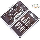 Nail Clippers Kit, Stainless Steel Nails Cutter Manicure Set by LXINGS, Foot Care Hand Care& Pedicure Travel & Grooming Kit 12 in 1 with Travel Case.
