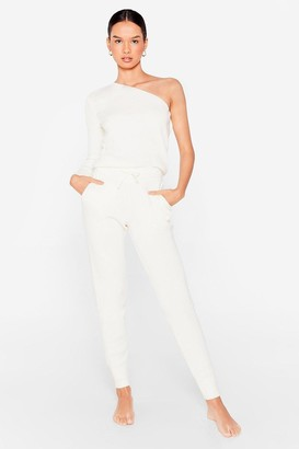 Nasty Gal Womens One Shoulder's All It Takes Joggers Lounge Set - White - S