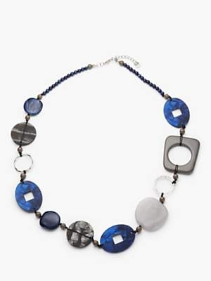 One Button Abstract Beaded Necklace, Blue/Grey