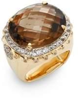 John Hardy Bamboo Smoky Quartz, White Sapphire & 18K Yellow Gold Ring