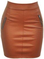 JYE Women Sexy Leather Pu Bodyocn Wrap Club Mini Skirt Zipper Short Pencil Dress