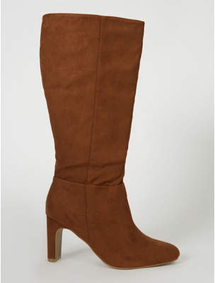 George Brown Knee High Faux Suede Flared Boots