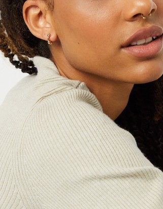 Pieces huggie hoop earrings with ball design in gold