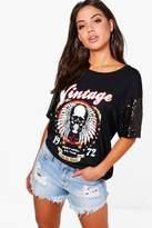 boohoo Hayley Sequin Sleeve T-Shirt