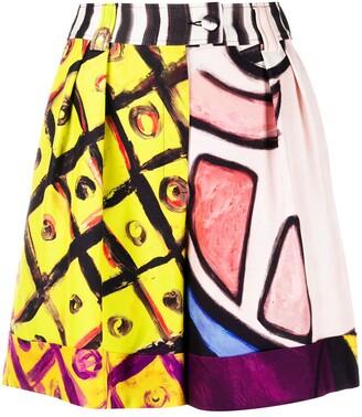 Moschino Painted-Print High-Waist Shorts