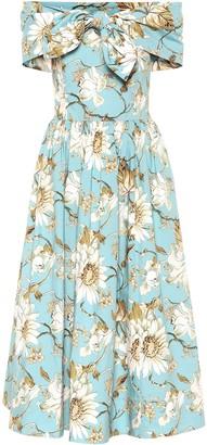 Oscar de la Renta Floral stretch-cotton off-shoulder midi dress