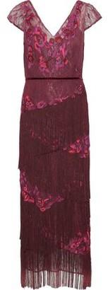 Marchesa Fringed Embellished Chantilly Lace Midi Dress
