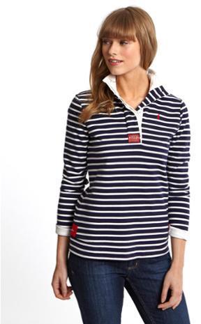 Joules Cowdray Womens Striped Sweatshirt - Dark Ruby Stripe