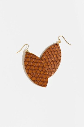 francesca's Naya Snake Print Teardrop Earrings - Brown