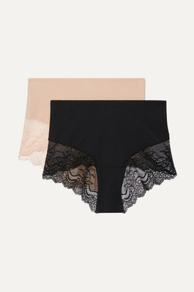 Spanx Undie-tectable Set Of Two Stretch-jersey And Lace Briefs - Black