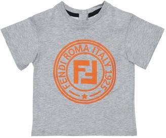 Fendi Rubberized Logo Cotton Jersey T-shirt
