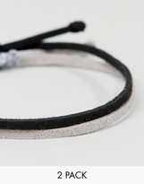 Asos Rope Bracelet Pack In Black And Gray