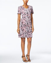 Connected Petite Printed Tiered Shift Dress
