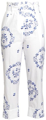 Simone Rocha Embroidered Cotton Poplin Paperbag Trousers